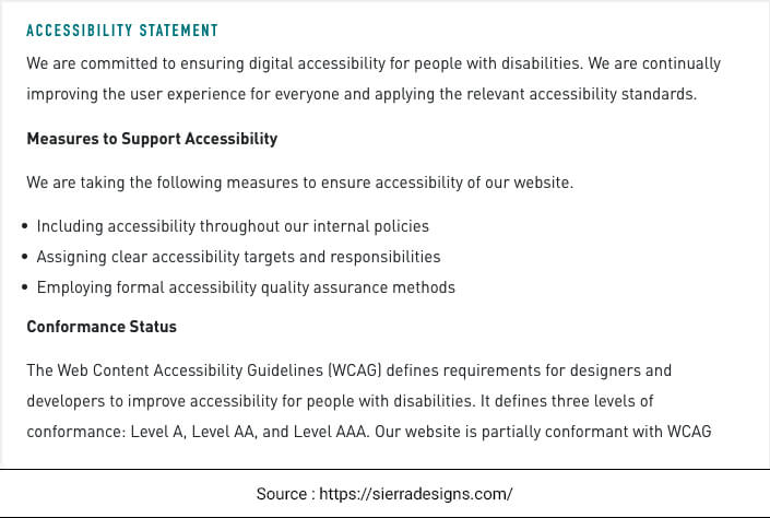 Example of eCommerce Website Accessibility for Disabled