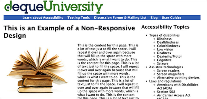 Example of Non Responsive Website in Web Design Mistakes