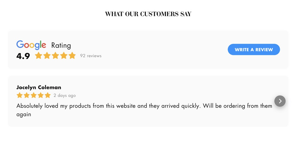 Example of Customer Reviews and Ratings for Online Store
