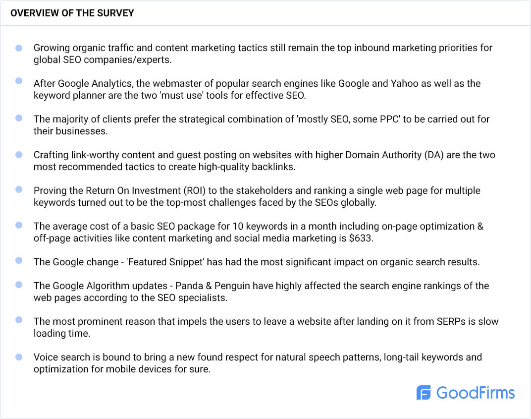 Overview of SEO companies specialists survey